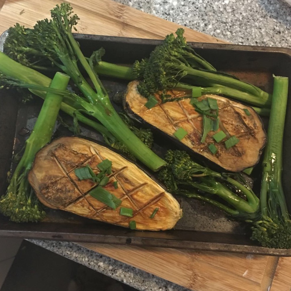 Aubergine and veg